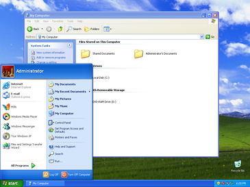 Captura de pantalla de Windows XP